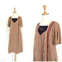 Vintage 70s Dress - Young Edwardian - brown taupe - velour dress - sundress - aline - M L