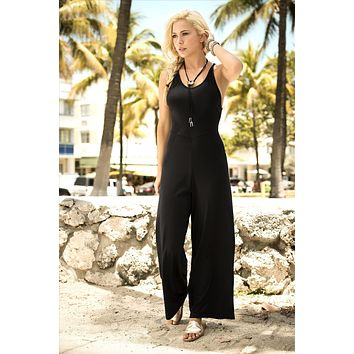 Black U Neckline Jumpsuit With Fitted Bodice And Wide Leg