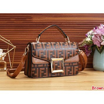 FENDI Newest Fashionable Women Leather Handbag Tote Shoulder Bag Crossbody Satchel Brown