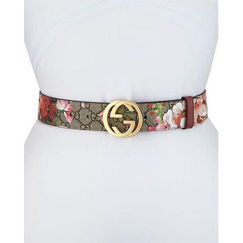 Gucci New Fashion Smooth Buckle Belt Leather Belt Women Men Belt Print Flower Waist Floral Personality Belt