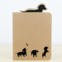 Dachshund Silhouette Notebook - Small notebook, Dog gifts, Stationery, Journal, Notepad, Notebook journal, Cute notebook, Dachshund gift