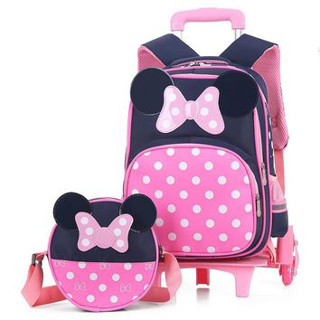 School Backpack 2PCS sets Girls Trolley Rolling Backpack Climb the stairs school bag children Detachable waterproof backpack travel luggage AT_48_3
