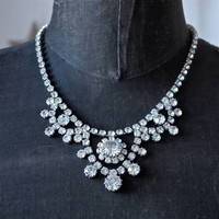 Vintage Necklace 50's Czech Clear Large Rhinestone Mad Men Princess Style Necklace Adjustable