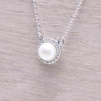 925 sterling silver cz halo pave mohter of pearl round necklace