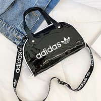 Adidas New fashion letter leaf print handbag shoulder bag women Black