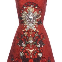 Sacred Heart Embellished Sleeveless Brocade Dress by Dolce & Gabbana - Moda Operandi