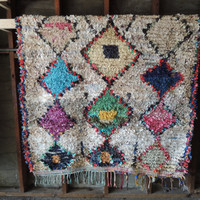 BOHO Chic Rug Vintage Moroccan Boucherouite in Multi Colors with Harlequin Patterns (Los Angeles)