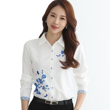Spring Summer Women Blouse Shirt 2017 Fashion Elegant Plus Size Blusas Feminina Vintage Clothing Tops Tee Print Office Formal