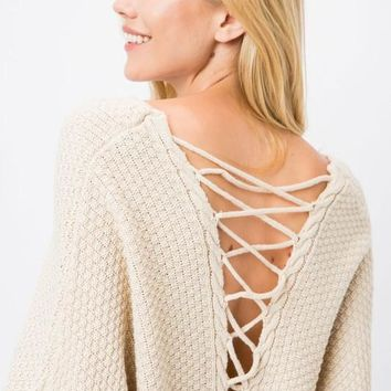 Lace Up Back Batwing Knit Sweater