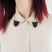 Black Cat Collar Clips