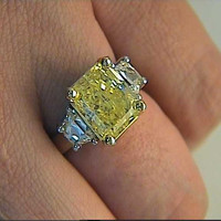7.23ct Fancy Yellow  Radiant Cut Diamond Engagement Ring 900,000 GIA certified JEWELFORME BLUE