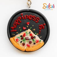 Happiness is Pizza - Handmade Polymer Clay Pizza - Miniature Pizza - Pizza Key Chain