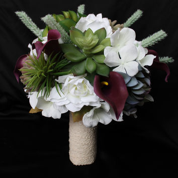 A Beautiful Succulent Wedding Bouquet Collection