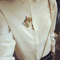 Literary Collar Shirt Printed with Cat