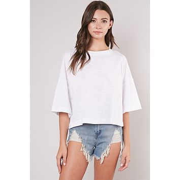 Washed Half Sleeve Top - White
