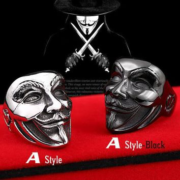 MDIGHY9 Beier new store 316L stainless steel ring  new V for vendetta V mask man ring biker skull  fashion jewelry  BR8-208