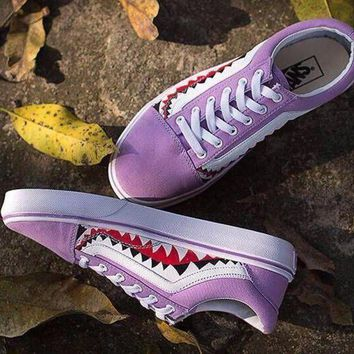 PEAPNW6 Sale BAPE x Vans Old Skool Custom 17ss SHARK MOUTHS Low Purple Sneakers Convas Casual Shoes XH52 OS