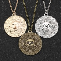 Pirates Of The Caribbean Necklace Jack Sparrow Aztec Coin Medallion Pendant