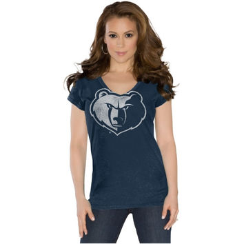 Touch by Alyssa Milano Memphis Grizzlies Ladies Field Goal V-Neck T-Shirt - Navy Blue