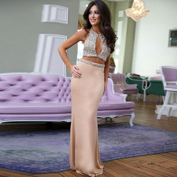 New Fashion Unique Sexy Hot Mermaid Two Pieces Prom Dresses Backless Crystal Rhinestone Halter Evening Party Gown Robe de Soiree