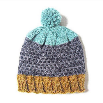 Fair isle chunky pompom hat in mustard, sea blue and grey, hand knitted unisex, READY TO SHIP