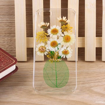 Pressed Flower Daisy iPhone 5 case, iPhone 4 case, iPhone 4s case, iPhone 5s case, iPhone 5c case, Galaxy S4 S5 Note 3 - 01009