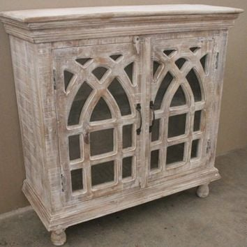 Bengal Manor Light Mango Wood Cathedral 2 Door Cabinet By Crestview Collection Cvfnr332