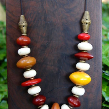 Lyme Sale BIG Colorful African Resin Bead Necklace Amber Orange and Red w Large Creamy White Bone Beads from Kenya African Boho Tribal Jewel