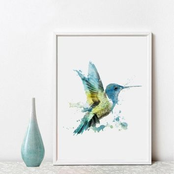 Hummingbirds Watercolor Art Print Wall Art Bird Decor Humming Bird Nursery Unique Gift Art Paper Decor No Frame