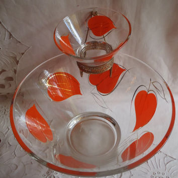 Vintage Glass Bowls for Chips and Dip with Orange and Gold , Party Dishes Glass Serving Bowls