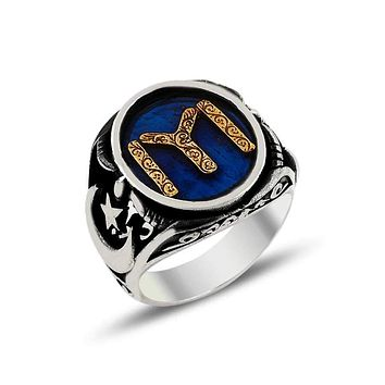 Turkish monogram with crescent star blue enamel silver mens ring