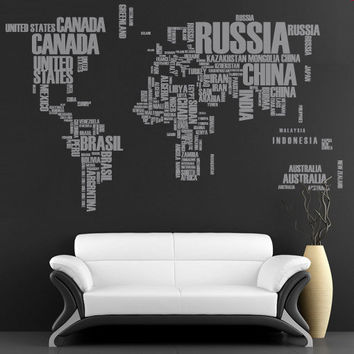 Wall Decal - World Map with Country names for housewares