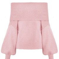 Pink Off Shoulder Belle Sleeve Rib Knitted Sweater