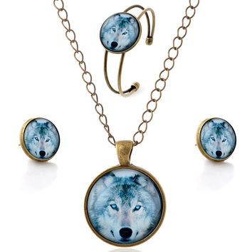 Wolf Pendant Necklace Stud Earrings Bangle