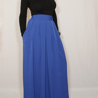 Bright blue skirt Women Chiffon maxi skirt High waisted maxi skirt with pockets