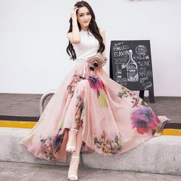 CREYCI7 2017 New Fashion Elastic Waist Casual Chiffon Skirt Summer Bohemian Floral Print Beach Maxi Flower Long Skirt For Women