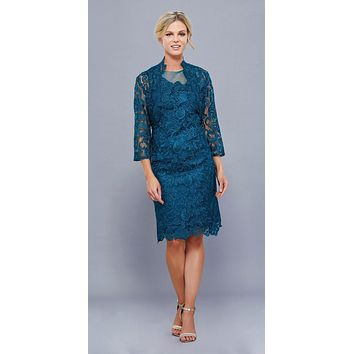 CLEARANCE - Knee Length Cruise Dress Lace Teal Includes Lace Jacket (Size 3XL)