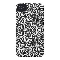 Black and White Ink Fractal Flowers Iphone 4 Tough Cover from Zazzle.com