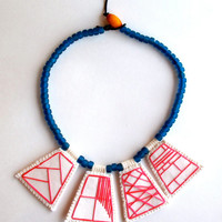 Embroidered necklace geometric hot pink pendants with blue Native American trade beads and Ethiopian amber toggle
