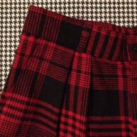 black and red, wool plaid pants, with pleated front, tapered cuffs, and hi-rise