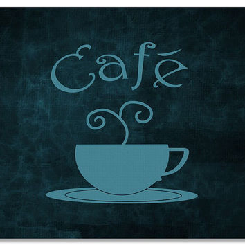 Cafe with Cup Word Art Print Wall Art