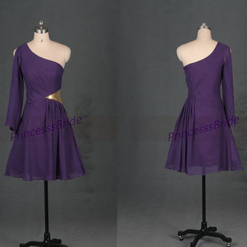 Short purple chiffon homecoming gowns in 2014,unique one sleeve women dress for holiday party,cheap simple prom dresses under 100.