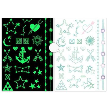 Creative Halloween Temporary Tattoo Luminous Waterproof Sticker Bat Pumpkin Ghost Moon Star Party Fake Temporary Tattoo Stickers