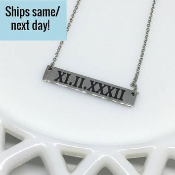 Roman Numeral Necklace, Bar Necklace, Silver Bar Necklace, Engraved Bar Necklace, Engraved Jewelry, Gift for Her, Silver Bar, Gifts Under 20
