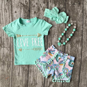 arrow live free mint summer cotton clothes cute pom pom with necklace and bow
