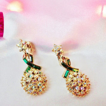 Vintage Gorgeous Christmas Earrings Green Bows with Sparkling Aurora Borealis Crystal Rhinestones Wreath Estate Exclt Cond Costume Jewelry