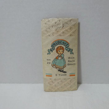 1940s Vintage Packaged Rick Rack Braid by Prudence in White, 3 Yard Pkg, Cotton, Size 29, Vintage Package Trim, Home Sewing Notions