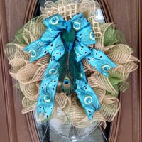 "Deco Mesh Wreath, Peacock Wreath, Year Round Wreath, Burlap Deco Mesh, Ruffle Wreath, Green & Teal/Turquoise, 21"" Indoor/Outdoor Wreath"