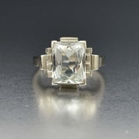Art Deco Emerald Cut Aquamarine 14K White Gold Ring