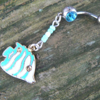 fish belly ring beach belly ring sea belly ring enameled fish beach  boho hippie belly dancer beach bohemian tribal fusion and hipster style